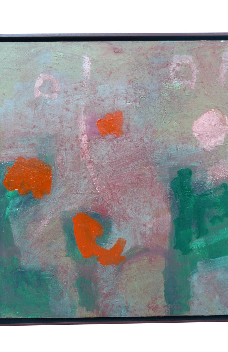 A luminous abstract painting by the artist MP Landis. With its rich palette of green and orange, the painting evokes aerial views of pond surfaces, misty landscapes, and figures in a hazy ground.   Painted in 2008. Titled and signed on the back of