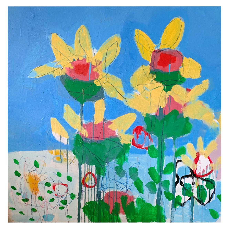 M. P. Landis Landscape Painting 'Yellow Flowers & Blue Sky'