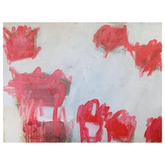 M. P. Landis Red and White Abstract Painting