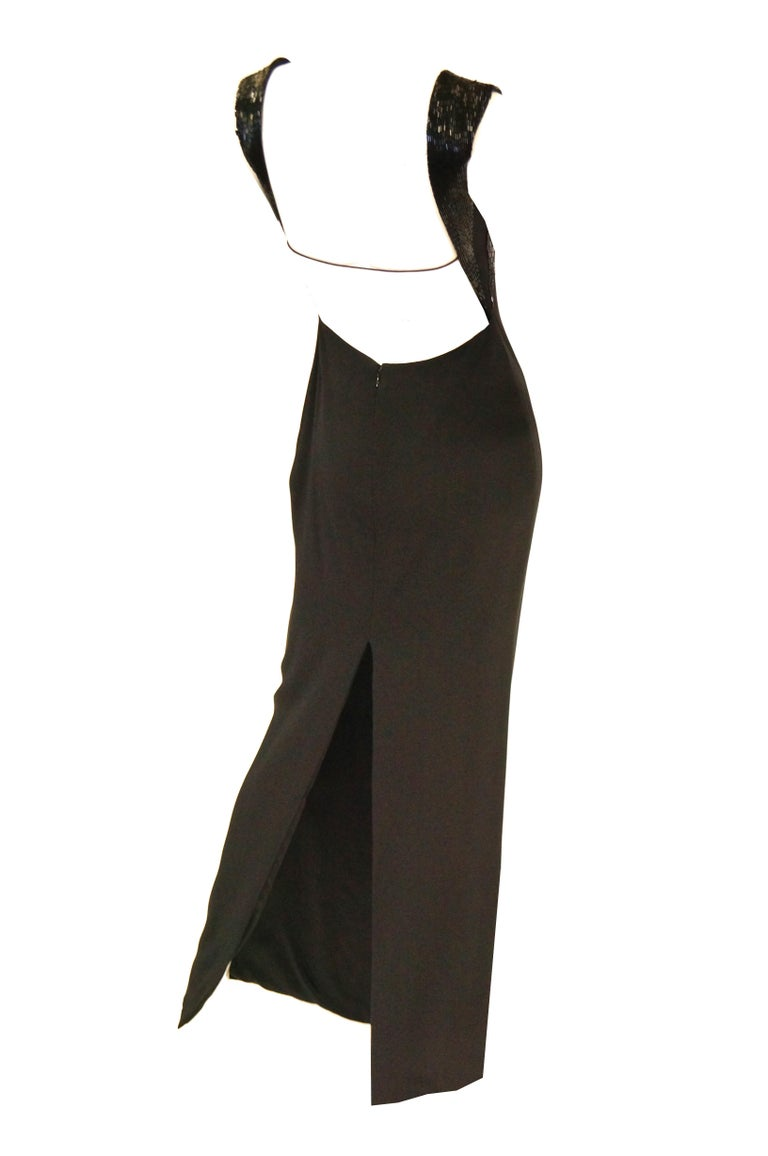 Richard Tyler Couture Black Silk & Sequin Plunge Back Dress In Excellent Condition For Sale In Houston, TX