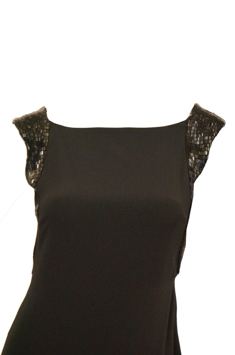 Richard Tyler Couture Black Silk & Sequin Plunge Back Dress For Sale 1