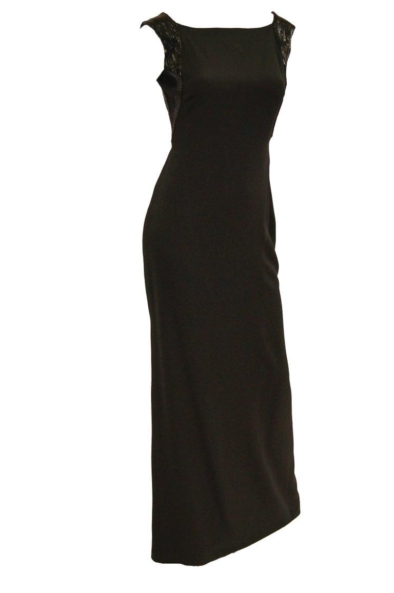 Richard Tyler Couture Black Silk & Sequin Plunge Back Dress For Sale 4