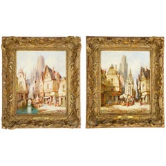 M Schafer Pair of Painting of Rouen and Brittany