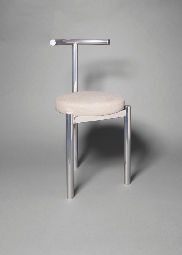 Polished M Series -  Minimalist Stainless Steel Metal Soft Chair For Sale