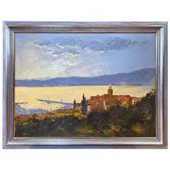 """M. Staar """"Saint-Tropez Vu de la Citadelle"""", Impressionist Oil Painting, 1970s"""