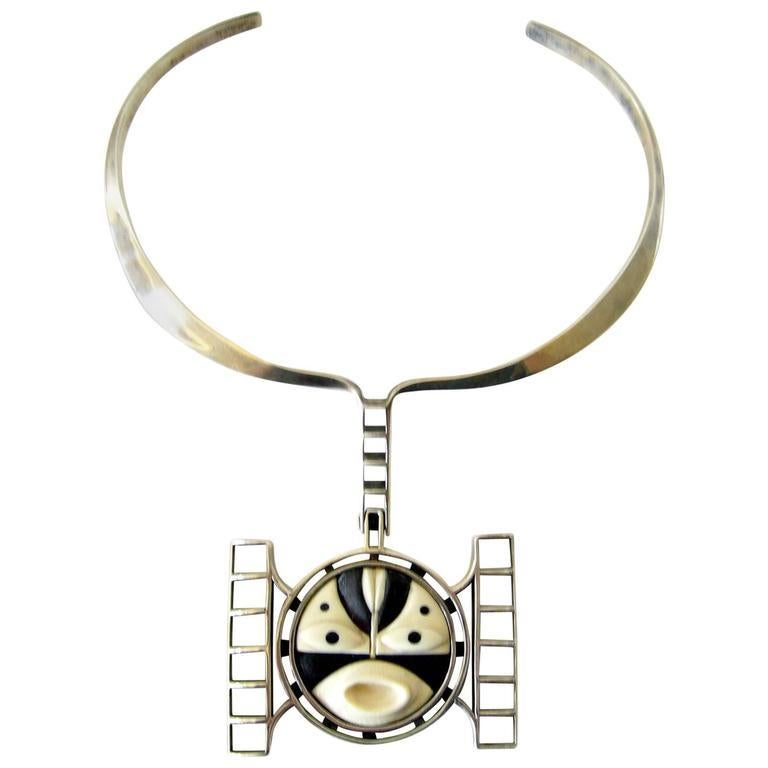 Women's M. Sutton Sterling Silver Wood American Modernist Mask Necklace For Sale