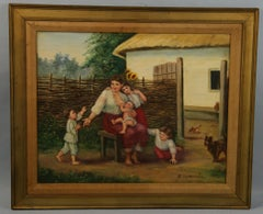 Vintage Russian Family Farm Scene Oil Painting on Canvas 1981