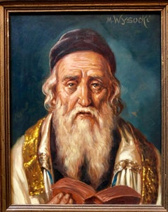 Austrian Judaica Portrait of Hasidic Rabbi Oil Painting