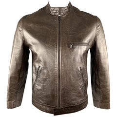 M0851 Chest Size M Brown Leather Belted Collar Zip Up Zip Pockets Motorcycle Jac