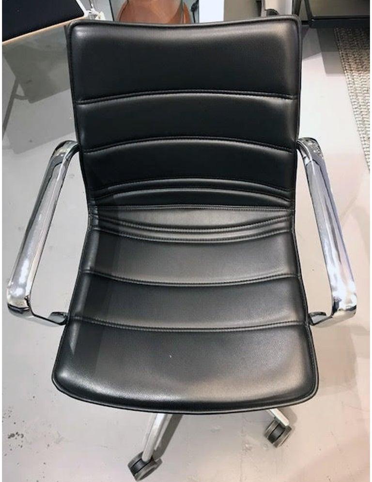 Italian M2L Black Swivel Desk Armchair on Casters For Sale