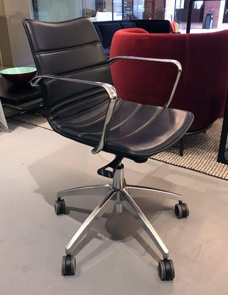 Contemporary M2L Black Swivel Desk Armchair on Casters For Sale
