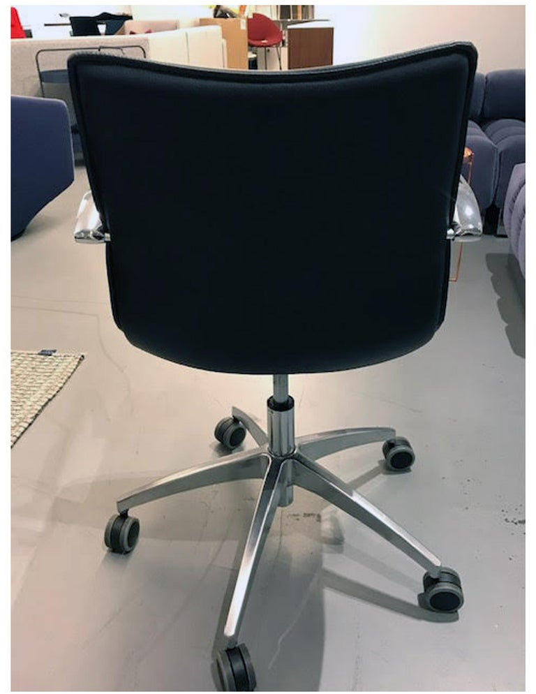Leather M2L Black Swivel Desk Armchair on Casters For Sale