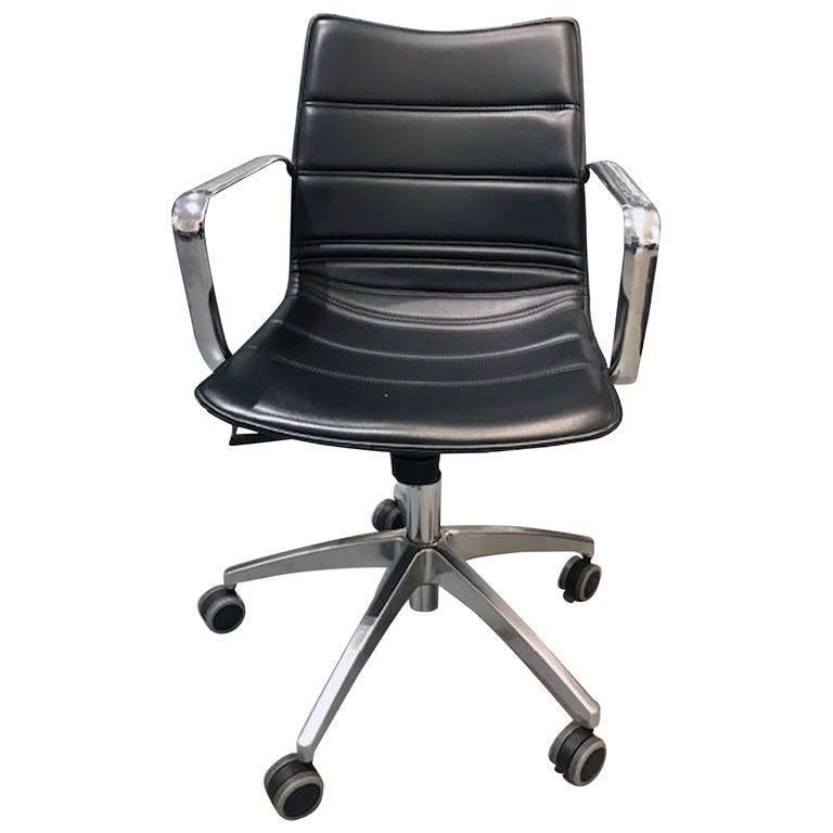 M2L Black Swivel Desk Armchair on Casters For Sale