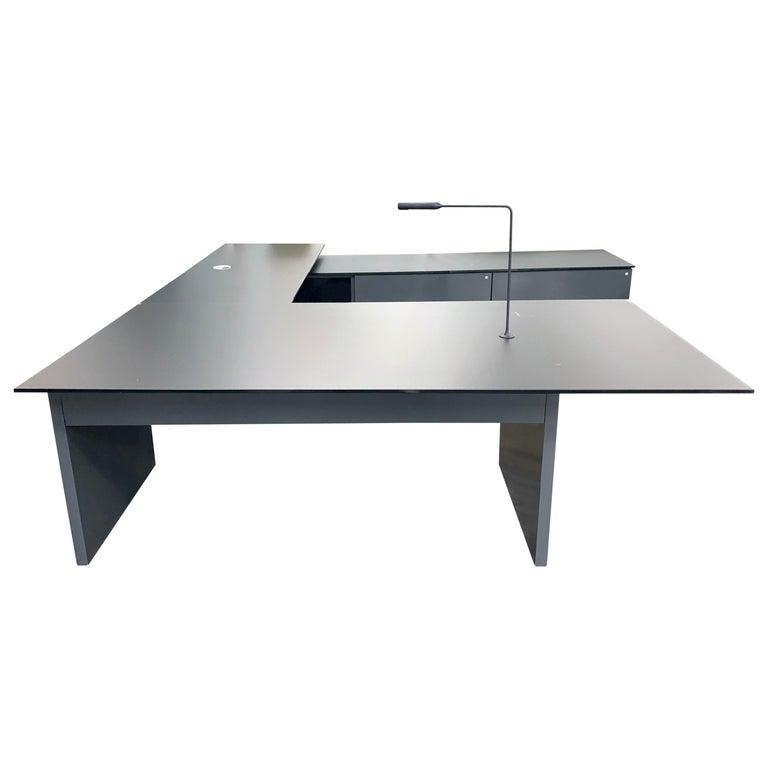 M2L Brand Black Satin Glass Top and Lacquer Desk For Sale