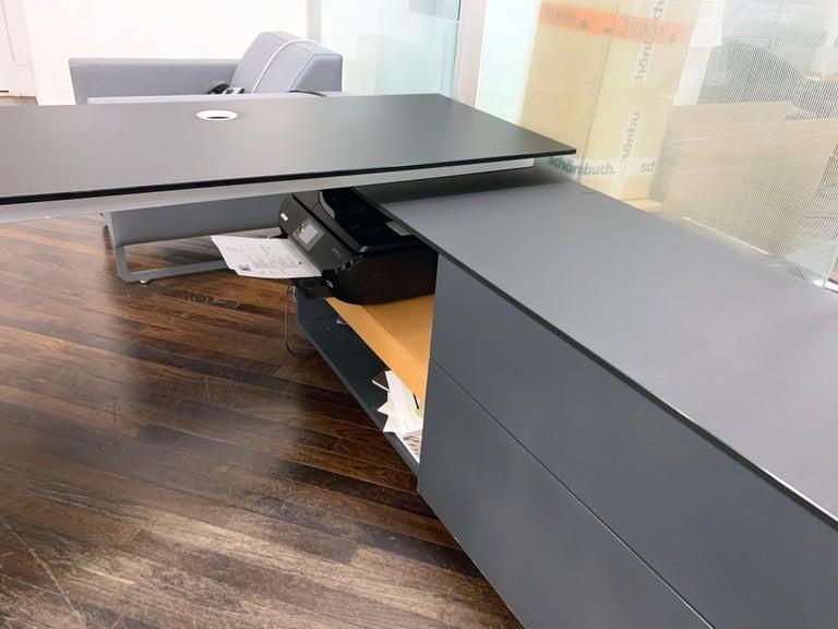 M2L Brand Black Satin Glass Top and Lacquer Desk For Sale 10