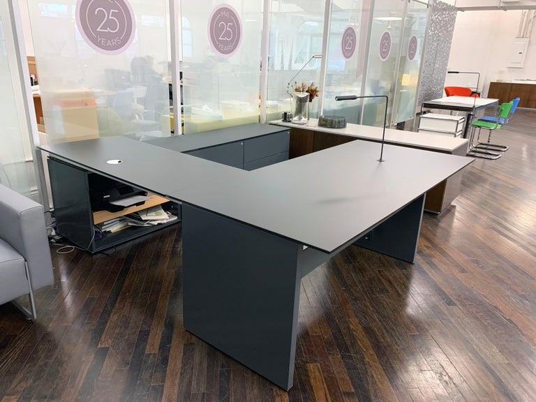 Modern M2L Brand Black Satin Glass Top and Lacquer Desk For Sale