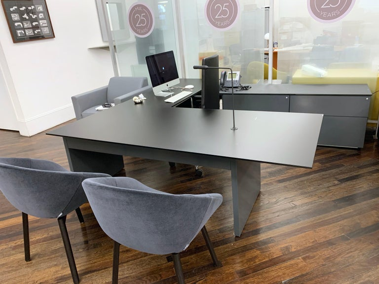 Canadian M2L Brand Black Satin Glass Top and Lacquer Desk For Sale