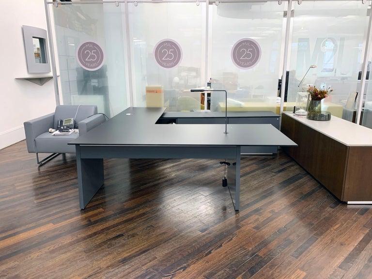Contemporary M2L Brand Black Satin Glass Top and Lacquer Desk For Sale