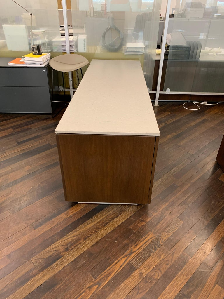 Contemporary M2L Brand Walnut Chestnut Wood Credenza with Stone top For Sale