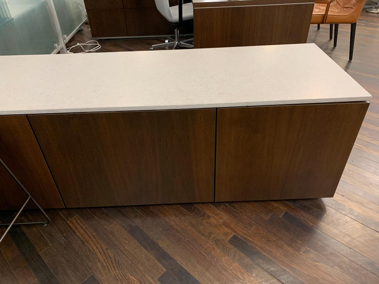 M2L Brand Walnut Chestnut Wood Credenza with Stone top For Sale 1