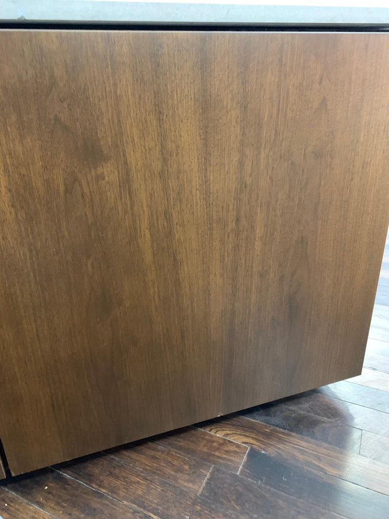 M2L Brand Walnut Chestnut Wood Credenza with Stone top For Sale 2