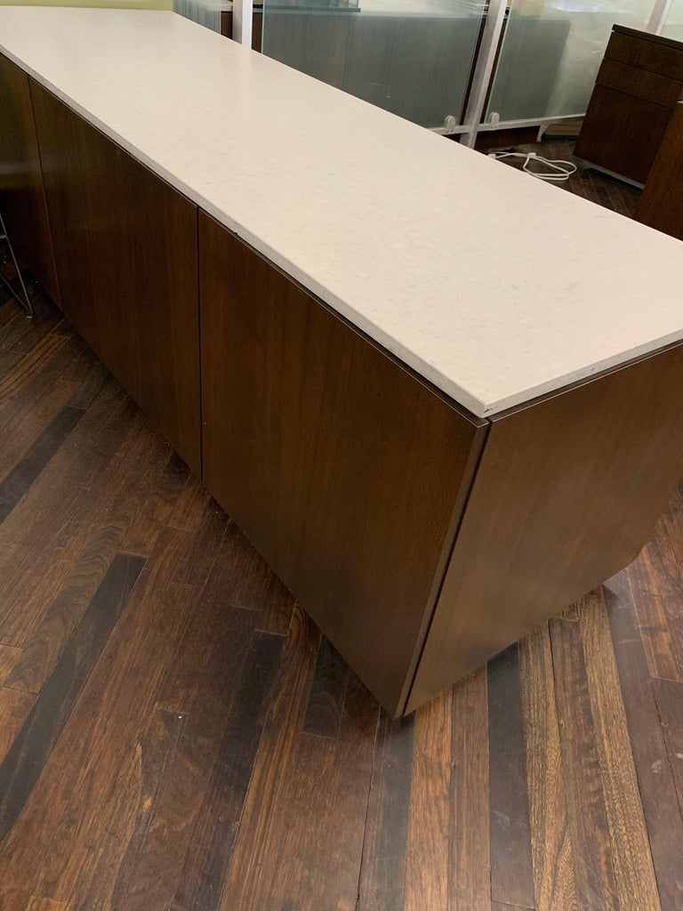 M2L Brand Walnut Chestnut Wood Credenza with Stone top For Sale 3