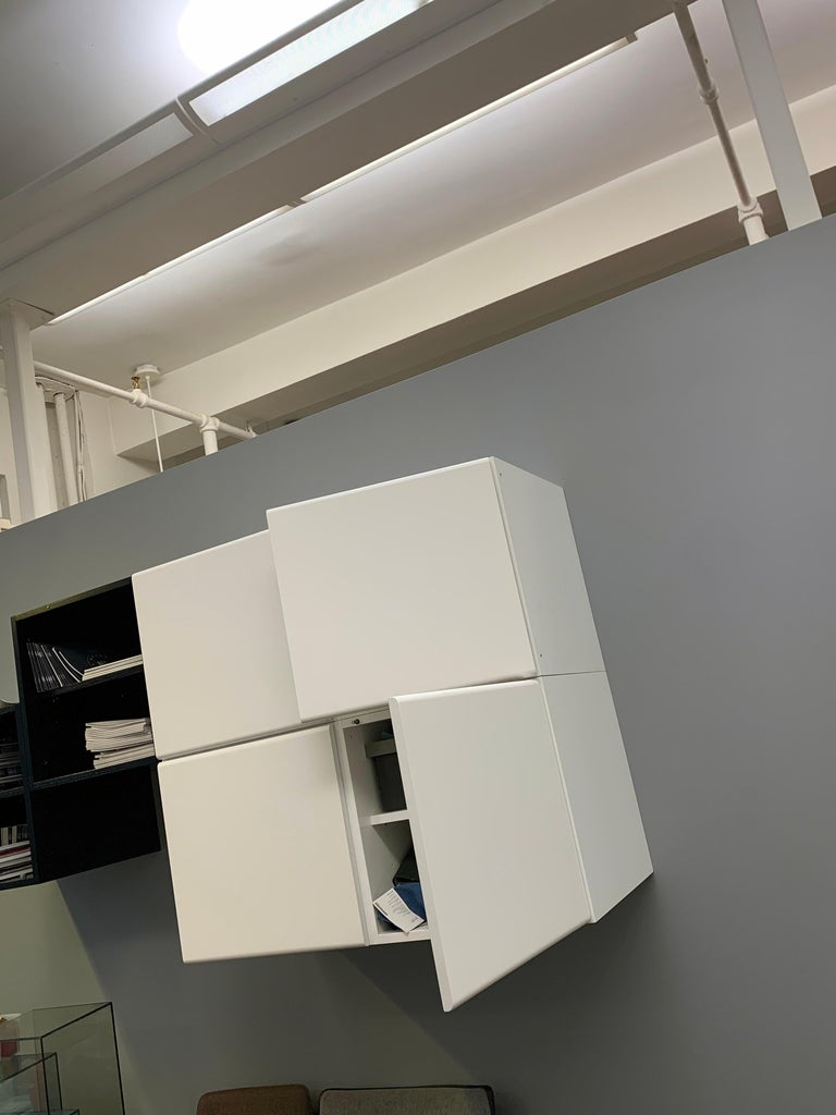 M2L Brand White Wall Mount Media Console In Good Condition For Sale In New York, NY