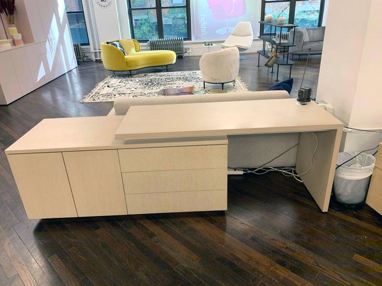 Brand cabinetry wood desk With 1 panel leg and storage Desk top/leg: wood oak Desk dimensions: 60