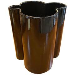 M6 Black Wavy Ceramic Vases by Angelo Mangiarotti for Fratelli Brambilla