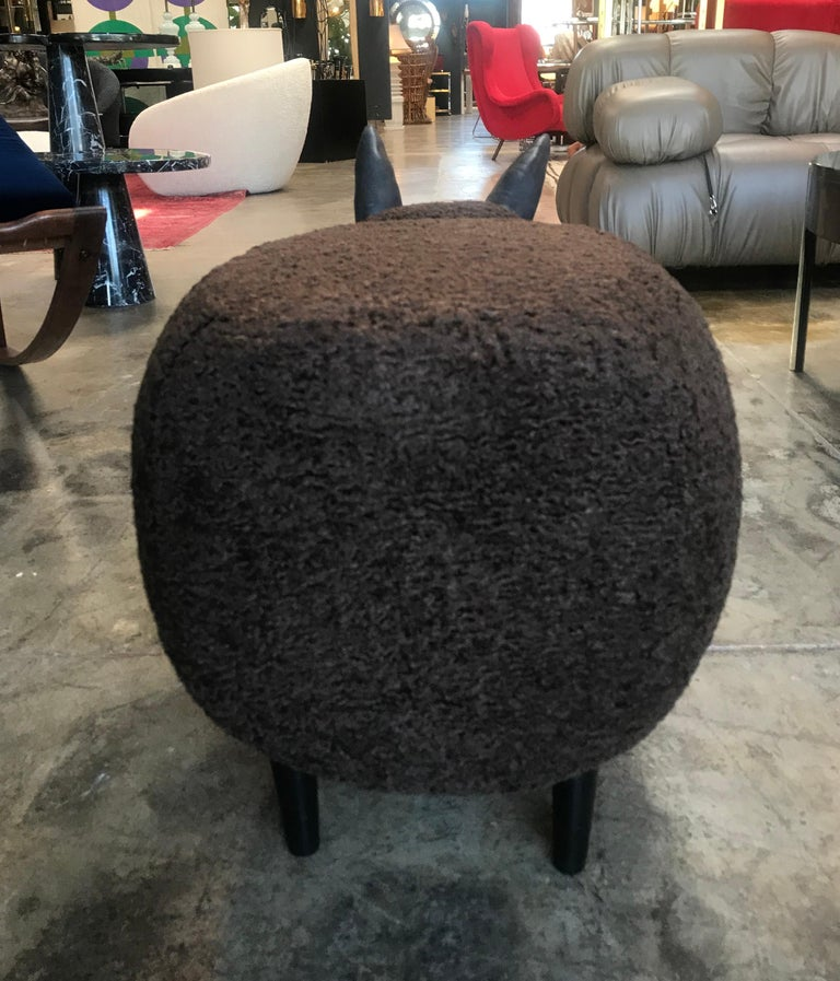 Fabric Ma39 Pouf in Carved Wood Dark Brown Sheep, Italy, 21st Century For Sale