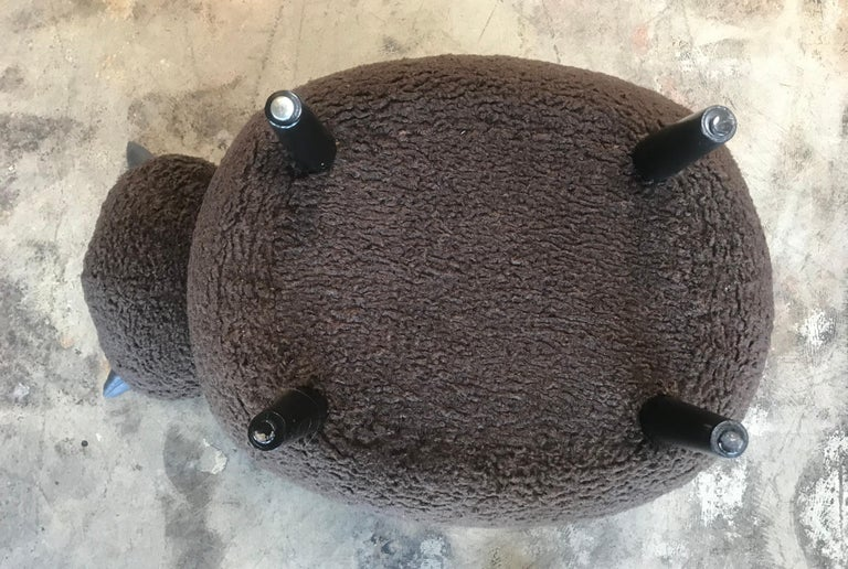 Ma39 Pouf in Carved Wood Dark Brown Sheep, Italy, 21st Century For Sale 1
