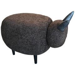 Ma39 Pouf in Carved Wood Dark Brown Sheep, Italy, 21st Century