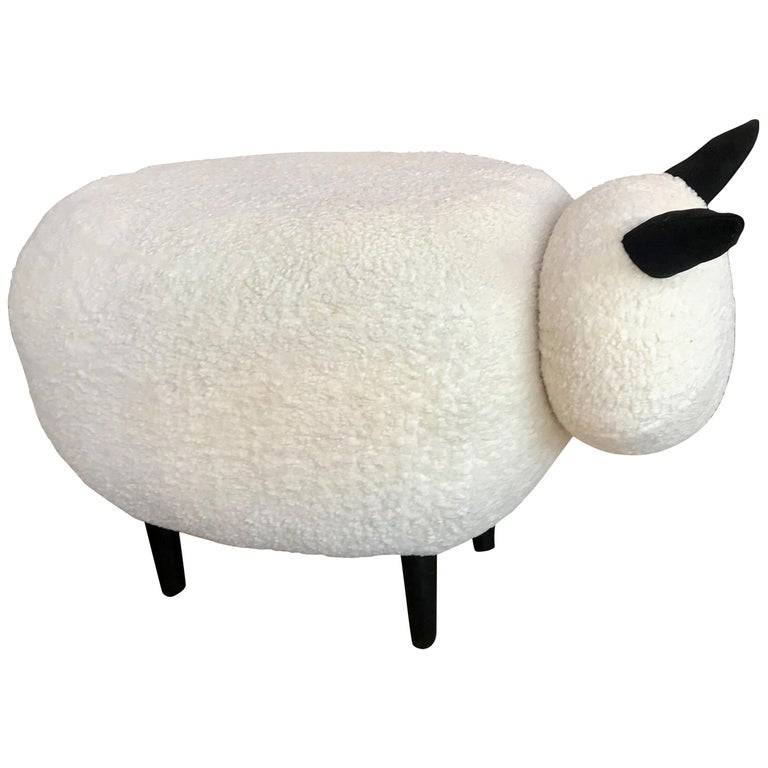 Ma39 Pouf in Carved Wood Sheep, Italy, 21st Century For Sale
