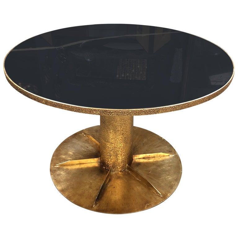 Ma+39 Round Brass and Glass Dining Table, Italy For Sale