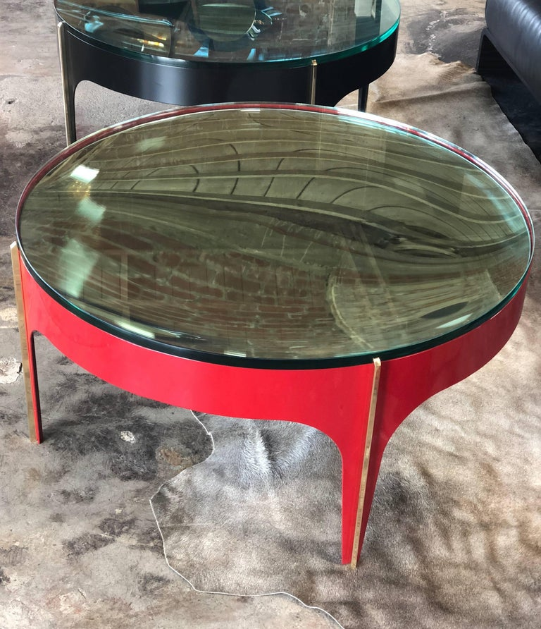 Minimalist Ma+39's Custom Red and Brass Magnifying Lens Coffee Table For Sale