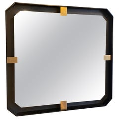 MA+39s Iron Floating and Brass Square Mirror, 21st Century, Italy
