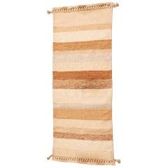 MAATI Handloom Wool Indian Rug in Earthy Tones Stripes Pattern