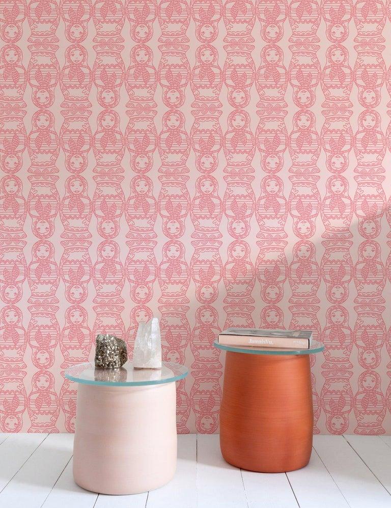 Contemporary Maatuska Designer Wallpaper in Bubblegum 'Pink and Blush' For Sale