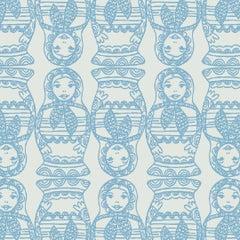 Maatuska Designer Wallpaper in Color Blueberry 'Cerulean Blue on Pale Grey'