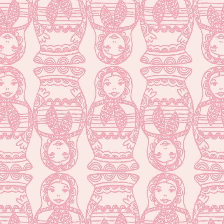 Maatuska Designer Wallpaper in Bubblegum 'Pink and Blush' For Sale