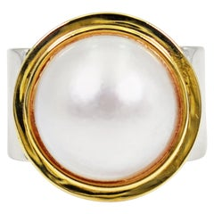 Mabé Pearl 14 Karat Gold and Sterling Silver Two-Tone Cocktail Ring