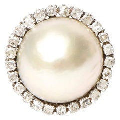Mabe Pearl, 14 Karat White Gold and Diamond Dome Cocktail Ring Vintage