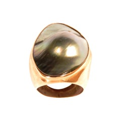 Mabé Pearl 9 Karat Rose Gold Ring Handcrafted in Italy by Botta Gioielli