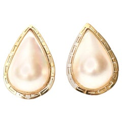 Mabe Pearl and 14 Karat Yellow Gold Pierced Lever Back Teardrop Earrings