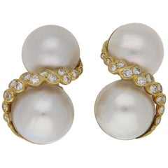 Mabé Pearl and Diamond Clip-On Earrings in Yellow Gold