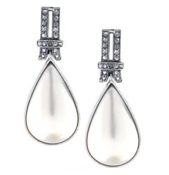 Mabe Pearl and Diamond Dangle Earrings