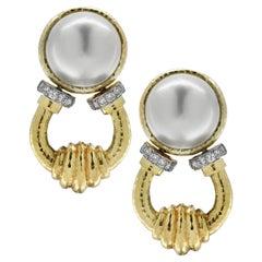 Mabe Pearl and Diamond Door Knocker Earrings
