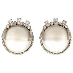 Mabe Pearl and Diamond White Gold Earrings