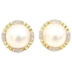 Mabe Pearl Clip-On Earrings with Diamond