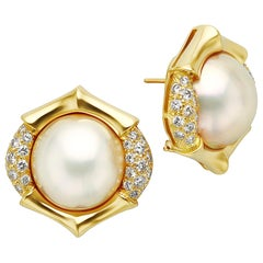 Mabe Pearl, Diamond and 18 Karat Yellow Gold Earrings